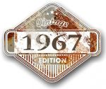 Rusty Patina Aged Vintage Edition  Year 1967 Design Vinyl Car sticker decal  85x70mm